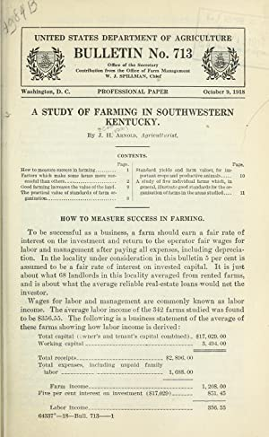A study of farming in southwestern Kentucky: Arnold, J. H.