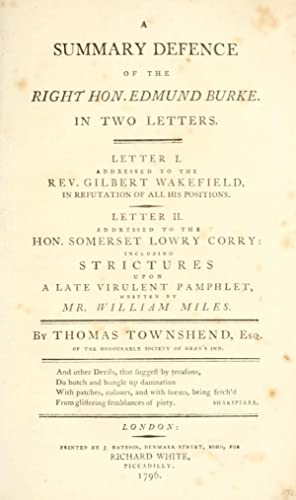 A summary defence of the Right Hon.: Townshend, Thomas,Corry, Somerset
