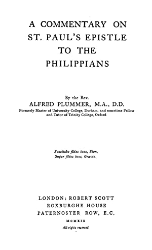 A commentary on St. Paul's Epistle to: Plummer, Alfred, 1841-1926