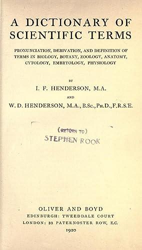 Dictionary Scientific Terms Pronunciation Derivation Definition