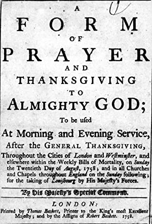 A form of prayer and thanksgiving to: Church of England