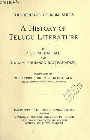 A history of Telugu literature; [Reprint]: Chenchiah, P,Bhujanga Rao,