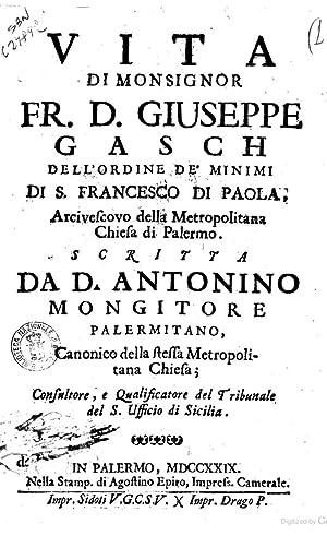 Vita di monsignor fr. d. Giuseppe Gasch: Antonino Mongitore