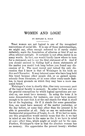 Women and Logic [Reprint] Volume: 198 (1913): Hale, Edward E.