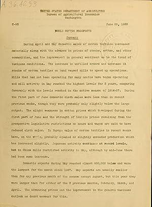 World Cotton Prospects. (Volume: no.93(1933:June 29)) [Reprint]: United States. Bureau