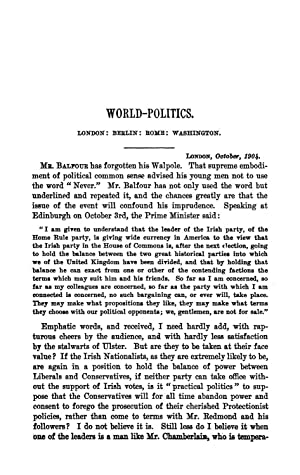 World-Politics. London: Berlin: Rome: Washington (1904) (Volume: