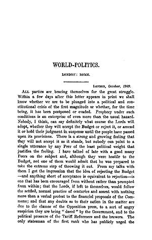 World-Politics. London: Rome (1909) (Volume: 190) [Reprint]