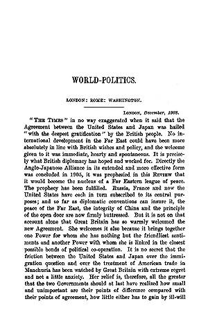 World-Politics. London: Rome: Washington (1909) (Volume: 189)