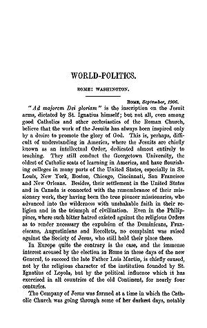 World-Politics. Rome: Washington (1906) (Volume: 183) [Reprint]