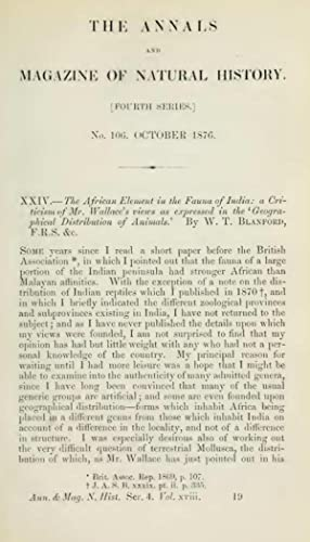 XXIV.?The African element in the fauna of: W T Blanford
