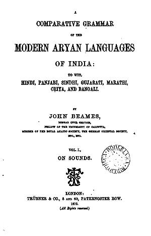 A comparative grammar of the modern Aryan: Beames, John, 1837-1902