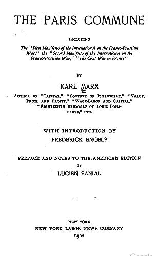 "The Paris commune: including the ""First manifesto: Karl Marx, Friedrich"