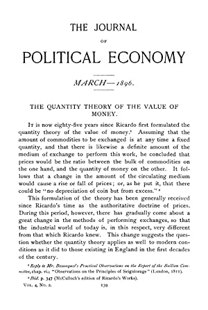 The Quantity Theory of the Value of: Mitchell, Wesley C.