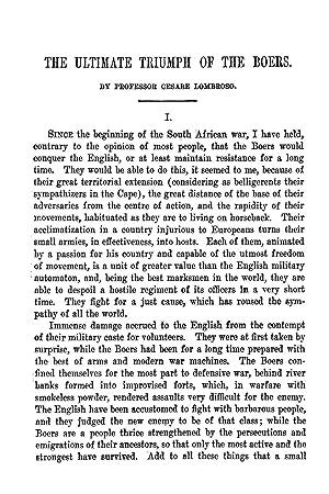 The Ultimate Triumph of the Boers [Reprint]: Lombroso, Cesare