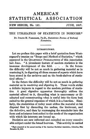 The Utilization of Statistics in Business [Reprint]: Parmelee, Julius H.