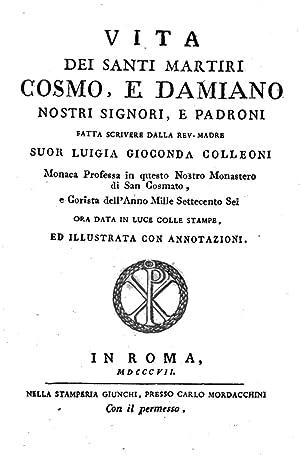Vita dei santi martiri Cosmo, e Damiano