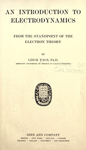 Introduction electrodynamics abebooks an introduction to electrodynamics from the standpoint page leigh 1884 fandeluxe Choice Image