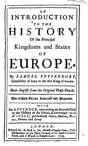 An introduction to the history of the: Pufendorf, Samuel, Freiherr