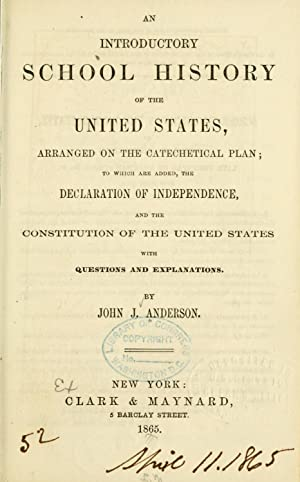 An introductory school history of the United: Anderson, John J.