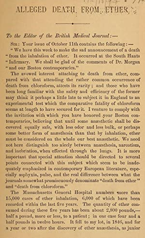 Alleged death from ether : to the: Bigelow, Henry Jacob,