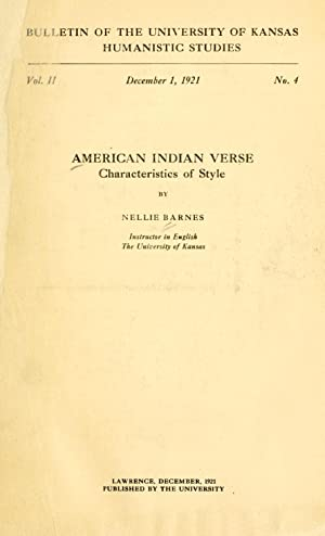 American Indian verse, characteristics of style [Reprint]: Barnes, Nellie