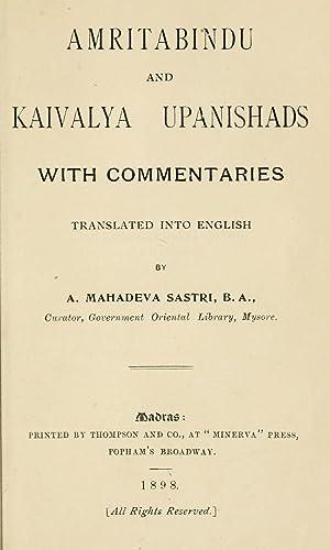 Amritabindu and Kaivalya Upanishad (1898) [Reprint]: Mahadeva Sastri, Alladi,
