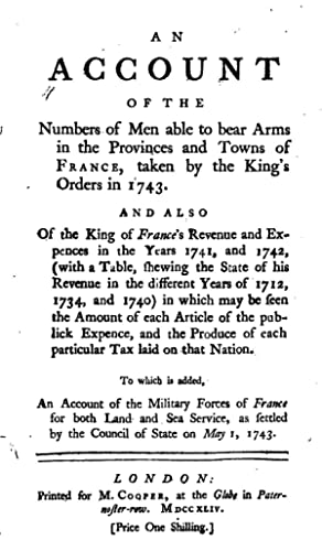 An Account of the Numbers of Men: Thomas Carte