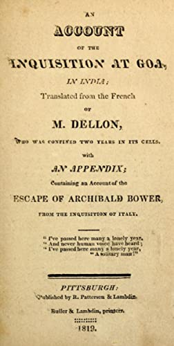 An account of the Inquisition at Goa,: Dellon, Gabriel, b.