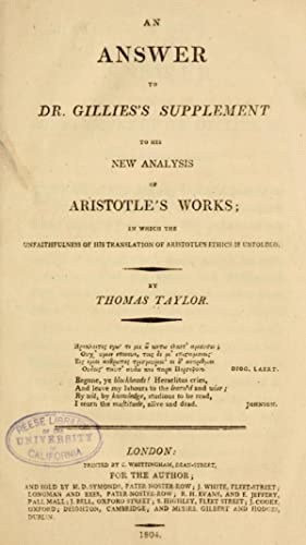 An answer to Dr. Gillies's supplement to: Taylor, Thomas, 1758-1835