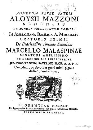 Admodum rever. patris Aloysii Mazzoni Senensis ex: Marcello Malaspina