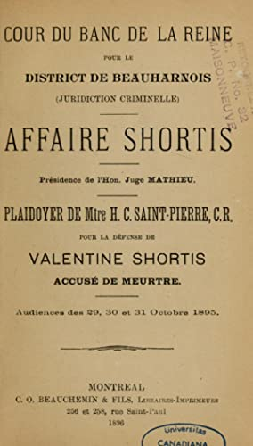 Affaire Shortis (1896) [Reprint]: Shortis, Valentine, 1875-1941,Saint-Pierre,