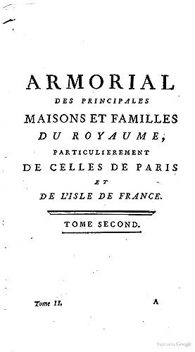 Armorial Des Principales Maisons De Familles Du Pierre Paul Dubuisson