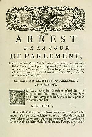 Arrest de la Cour de Parlement, qui: France. Parlement (Paris)