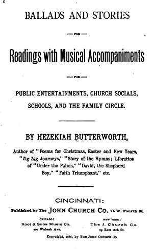 Ballards and stories for readings with musical: Butterworth, Hezekiah, 1839-1905