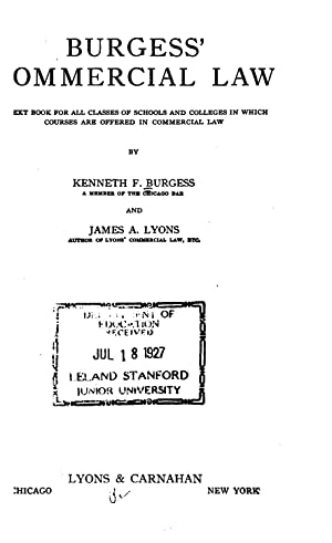 Burgess' commercial law; a text book for: Burgess, Kenneth Farwell,