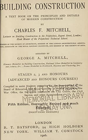 Building construction : a text book on: Mitchell, Charles F.