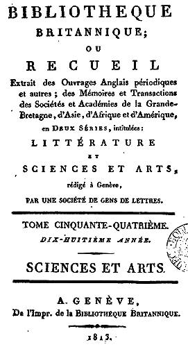 Bibliotheque Britannique ou Recueil.Tome Cinquante-Quartrieme (1813) [Reprint]: Une Societe de