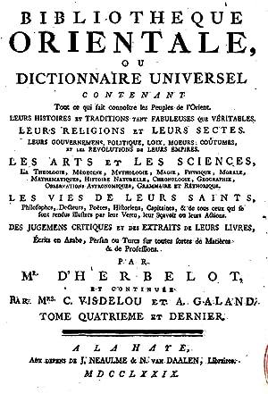 Bibliothà que orientale : ou Dictionnaire universel: Herbelot, Barthà lemy