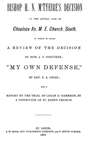 Bishop H. N. M'Tyeire's decision on the: Dameron, Logan D