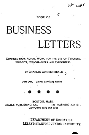 Book of Business Letters [Reprint] (1892): Charles Currier Beale