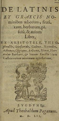 De latinis et graecis nominibus arborum, fruticum,: Nicander, of Colophon