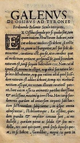 De ossibus. Ferdinando Balamio Siculo interprete. Galenus: Claudius Galenus