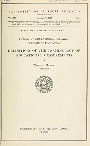 Definitions of the terminology of educational measurements: Monroe, Walter Scott,