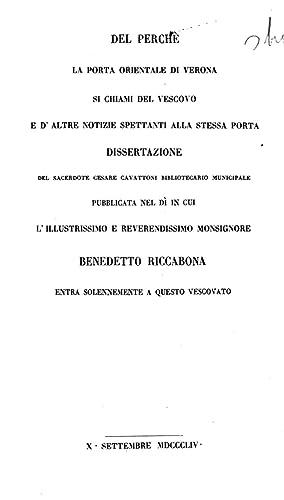 Del perchè la Porta Orientale di Verona: Cesare Cavattoni