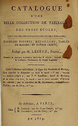 Catalogue d'une belle collection de tableaux des: Le Brun, Jean-Baptiste-Pierre,