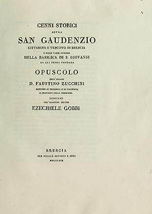 Cenni storici sopra san Gaudenzio : cittadino: Zucchini, Faustino, Abbot,Cavagna