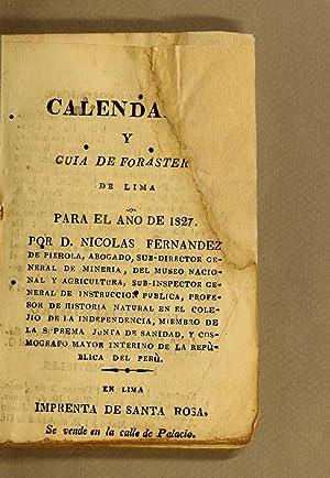 Calendario y guia de forasteros. De Lima: Fernandez de Pierola,