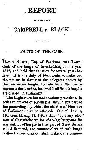Campbell V. Black.: Report of the Case: David Black ,