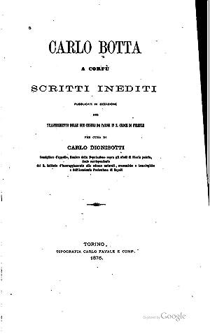 Carlo Botta a Corfu?; scritti inediti, pubblicati: Botta, Carlo, 1766-1837,Dionisotti,