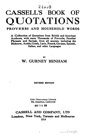 Cassell's book of quotations, proverbs and household: Benham, W. Gurney